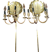 SALE Vintage Solid Brass Scallop Shell Sconce Wall Lamps