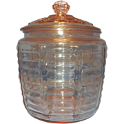 Vintage Pink Hocking Paneled and Ribbed Beehive Cookie or Biscuit Jar