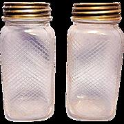 Vintage Hazel Atlas Lattice/Diamond Pattern Embossed Quart Jars