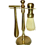 Vintage Brass Razor and Shaving Brush with Stand