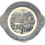 Vintage Royal Currier & Ives Rocky Mountains Blue and White Tab Handled Cake Plate