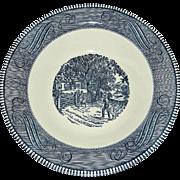 "Vintage 1960s Blue and White Currier & Ives 10"" Vegetable/Serving Bowls"