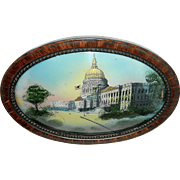 Antique 1916 Reversed Painted Capitol Building on Convex Glass with Oval Frame.