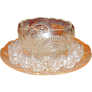 Antique U.S. Glass Slewed Horseshoe- Radiant Daisy or Radiant Peacock Punch Bowl with Cups and