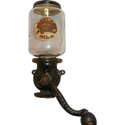 Antique Peerless Mill Coffee Grinder and Original Jar- Circa 1905