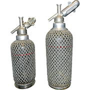Vintage Wire Mesh Covered Red Line Seltzer Bottles -