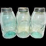 Antique Ball Mason Half Gallon Fruit Jars- Triple L Logo-1896-1910