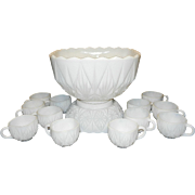 Hazel Atlas Williamsport Pattern Milk Glass Punch Bowl  Stand and Cups