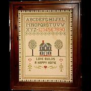 Vintage Needlepoint Sampler with Wood Frame