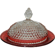 Vintage Diamond point Ruby Flashed Butter Dish