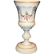 Vintage Westmoreland Milk Glass Hand Painted Bows and Roses Candy Dish or Vase