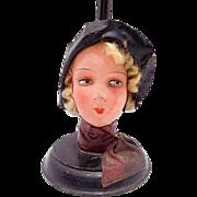 SOLD Vintage German Papier Paper Mache Art Deco Flapper Doll Head Hat Stand