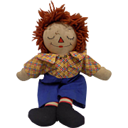 SOLD Awake Asleep Raggedy Ann Andy Doll Cloth Outlined Nose