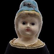 Antique German Papier Paper Mache Wax Molded Bonnet Doll