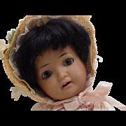 CUTE!!! Antique German Schoenau & Hoffmeister Hanna Doll Black Brown