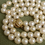 SOLD GORGEOUS Signed Mikimoto w/ RARE Unusual 18K Clasp & 6.3mm Akoya Pearls Necklace w/ Case