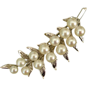 "SALE Beautiful LARGE 2.5"" Fern Akoya Cultured Pearls Sterling Brooch, c. 1960's"