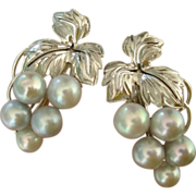 SOLD LUMINOUS Mikimoto Blue Akoya Cultured Pearls Sterling Earrings, 1960's