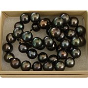 SOLD SUPERB Luster Dark Chocolate LARGE 10mm-9.2mm Tahitian Cultured Pearls & 14K 18.75""