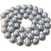 "SOLD Amazing Large 12mm-11mm 20.4"" Silver Cultured Pearls & 14K Necklace !"