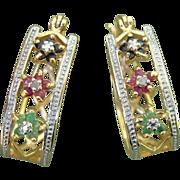 SALE PENDING Valentines Special ! Beautiful Gemstone Flowers Vermeil Pierced Earrings -- Desig