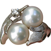 SALE Valentines Special ! White Gold Diamond & LUMINOUS Akoya Cultured Pearls, Artist Sign