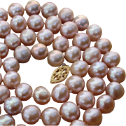 "SOLD Luscious Pink Cultured Pearls 21.4"" Large 8.8mm-7.9mm & 14K Necklace"