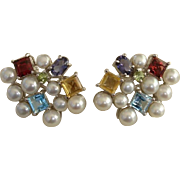 SOLD Radiant Cultured Pearls & Gemstone Sterling French Clip Earrings