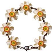 SALE Valentine's Special ! Lovely Vintage Faux Ivory Flowers Bracelet from Switzerland !