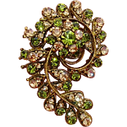 SALE Exquisite Paisley Design Green & Pale Peach Paste Stones Vintage Brooch / Pendant !