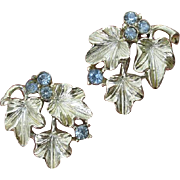 SALE Lovely Lisner ! Gorgeous Leaves with Crisp Light Blue Crystal Berries Silver Earrings