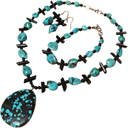 SALE Marvelous Turquoise, Black Coral & Onyx Gemstone Necklace, Bracelet & Earrings Set