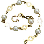 "Beautiful 14K Gold & Akoya Cultured Pearls 6.75"" Bracelet -- Signed"