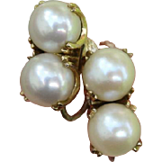 SALE Valentines Special ! Radiant Double Akoya Cultured Pearl Japanese 14K Gold & Sterling ...