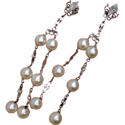 """SOLD Luxurious 3.25"""" Long 14K White Gold & Akoya Cultured Pearls Dangle Earrings"""