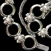 "SALE Mikimoto Japanese Akoya Flowers Cultured Pearls & Sterling 7.9"" Vintage Bracelet"