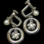 SALE Mikimoto Japanese Akoya Flowers Cultured Pearls & Sterling Earrings