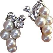 SOLD LUMINOUS Signed Mikimoto Akoya Cultured Pearls Sterling Earrings, 1960's
