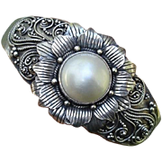 Stunning Cultured Mabe Pearl Flower Heavy Sterling Cuff Bracelet