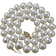 "SOLD Luxurious 11.3mm White South Sea Cultured Pearls & 14K Gold 18.5"" Vintage Necklace -"