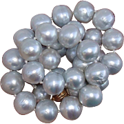 "SOLD Luxurious 13mm Platinum Silver South Sea Cultured Pearls & 14K Gold 18"" Vintage Neck"