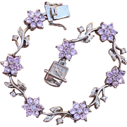 SALE Valentines Special ! Enchanting Flowers Vintage Bracelet with Pink & White Topaz Gemstone
