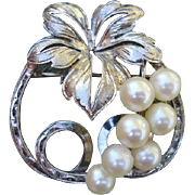 SALE Fabulous MIKIMOTO Grapes Akoya Cultured Pearl Sterling Brooch - 1940's - 50's