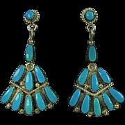 SALE PENDING Signed Violet & Jeffrey Begay Navajo Turquoise & Sterling Dangle Pierced Earrings