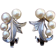 SALE Beautiful Japanese Akoya Cultured Pearls Sterling Earrings