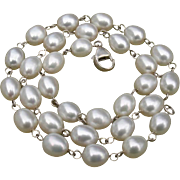 "SALE Luscious White Cultured Pearls & Sterling Silver Link Necklace - 16"" Long"