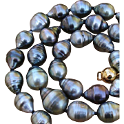 "SALE GORGEOUS Colors ! Baroque 15.1mm Tahitian South Sea Cultured Pearls & Vermeil 18"" Vi"