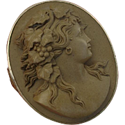 """SALE Gorgeous 1.95"""" High Relief Bacchante Goddess Cameo Antique Brooch / Pin - Victorian"""