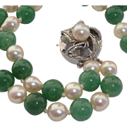 SALE Beautiful Jadeite & Japanese Akoya Cultured Pearls Sterling Vintage Bracelet