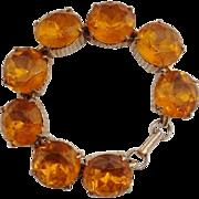 Vintage Honey Amber Large Foiled Glass Stones Link Bracelet - Chunky 1960's !